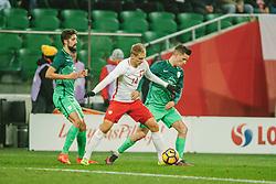 14.11.2016, Stadion Miejski, Wroclaw, POL, Testspiel, Polen vs Slowenien, im Bild LUKASZ TEODORCZYK, MIHA MEVLJA, BENJAMIN VERBIC // during the international friendly football match between Poland vs Slovenia at the Stadion Miejski in Wroclaw, Poland on 2016/11/14. EXPA Pictures &copy; 2016, PhotoCredit: EXPA/ Newspix/ Radoslaw Jozwiak<br /> <br /> *****ATTENTION - for AUT, SLO, CRO, SRB, BIH, MAZ, TUR, SUI, SWE, ITA only*****