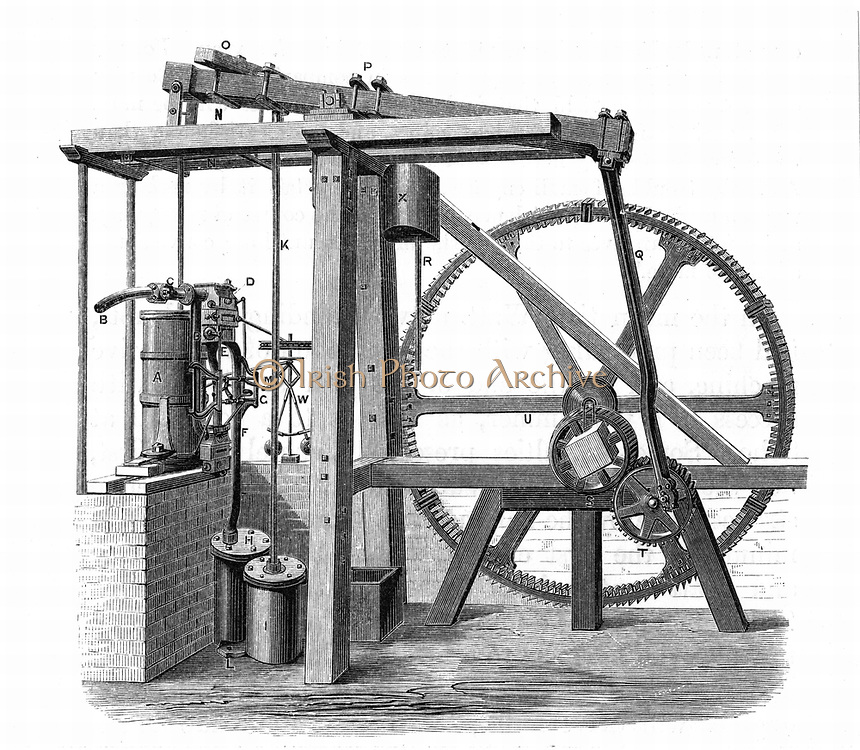 James Watt's (1736-1819) prototype steam engine 'Old Bess' c1778.  In this engine, which was erected at the Soho works, Birmingham, England, in 1777-1778,  reciprocating motion was turned into rotary motion by a sun-and-planet gear train. From 'Lives of Boulton and Watt', Samuel Smiles, (London, 1861). Engraving.