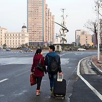 """Hunan, Liuyang, Dec. 19..2013 : a firecracker """" monument"""" is seen in a roundabout in Liuyang ciy."""