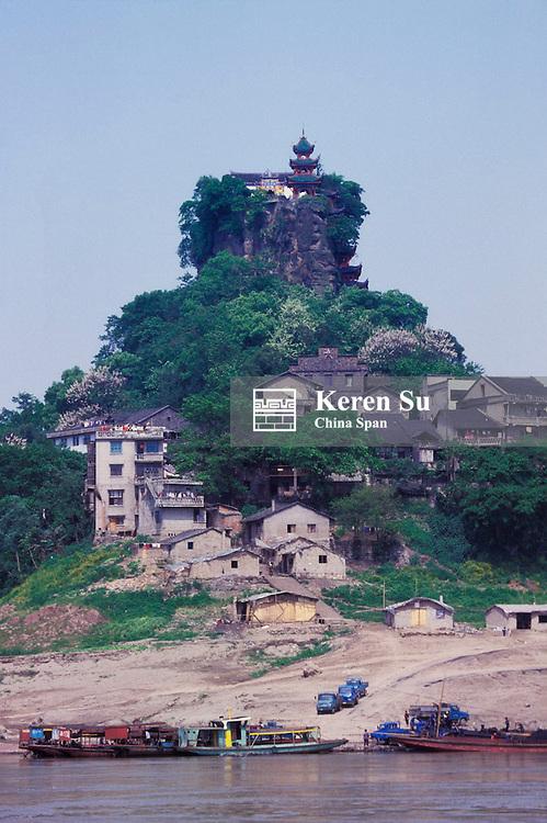 Stone Treasure Village (Shibaozhai) on rock, Three Gorges, Yangtze River, Sichuan Province, China