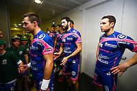 Maxime Derbier / Jeremy Suty / Leo Leboulaire - 01.04.2015 - Toulouse / Cesson Rennes - 19eme journee de Division 1<br />Photo : Manuel Blondeau / Icon Sport