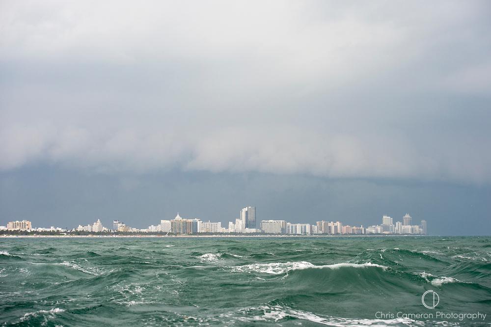 Rough seas off Miami, Florida