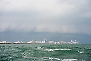 Rough seas off Miami, Florida