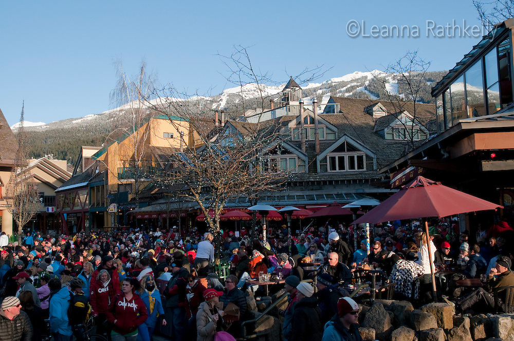 The French-Canadian band, Mes Aieux, plays in Village Square on a sunny warm day during the 2010 Olympic Winter Games in Whistler, BC Canada