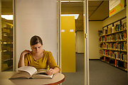 Samantha Owens uses the new Graduate Writing and Research Center located on the third floor of Alden Library. The learning space, available to graduate and undergraduate students through appointments, opened on January 22. Ohio University students can use the center to work on individual projects, to receive individual and group tutoring, and attend specialized workshops and form writing groups.