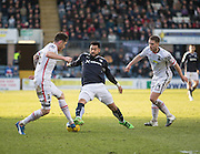 Dundee&rsquo;s Kane Hemmings takes on Inverness&rsquo; Greg Tanse while Daniel Devine watches - Dundee v Inverness Caledonian Thistle - Ladbrokes Scottish Premiership at Dens Park<br /> <br />  - &copy; David Young - www.davidyoungphoto.co.uk - email: davidyoungphoto@gmail.com