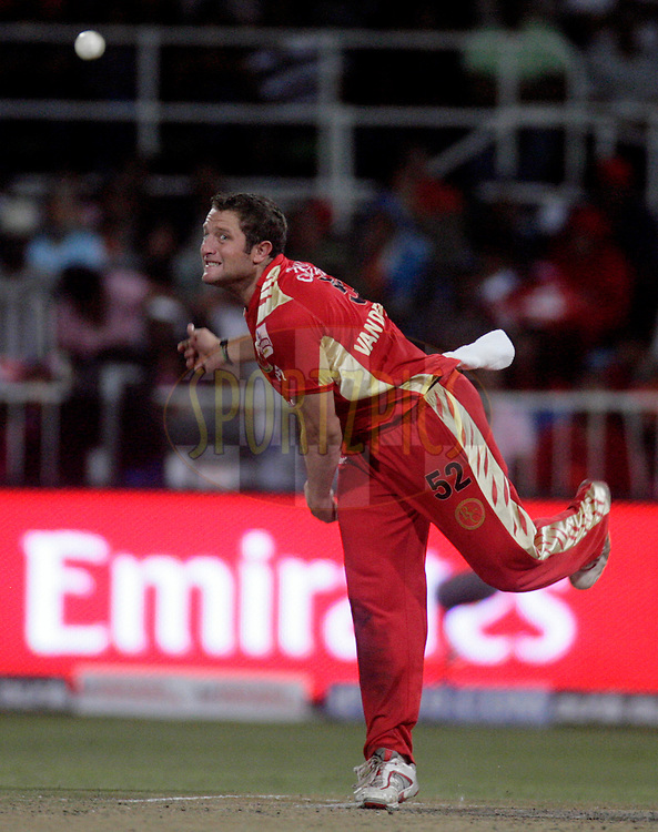 DURBAN, SOUTH AFRICA - 1 May 2009. Roelof van der Merwe bowls during the IPL Season 2 match between Kings X1 Punjab and the Royal Challengers Bangalore held at Sahara Stadium Kingsmead, Durban, South Africa..