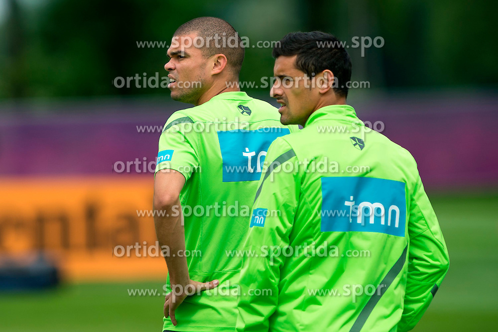 06.06.2012, Sportzentrum Remes, Opalenica, POL, UEFA EURO 2012, Portugal, Training, im Bild PEPE, RICARDO COSTA // during EURO 2012 Trainingssession of Portugal Nationalteam, at the Sportcenter Remes, Opalenica, Poland on 2012/06/06. EXPA Pictures © 2012, PhotoCredit: EXPA/ Newspix/ Jakub Kaczmarczyk..***** ATTENTION - for AUT, SLO, CRO, SRB, SUI and SWE only *****