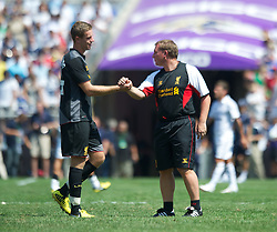 BALTIMORE, MD - Saturday, July 28, 2012: Liverpool manager Brendan Rodgers and Jordan Henderson after the goalless draw against Tottenham Hotspur during a pre-season friendly match at the M&T Bank Stadium. (Pic by David Rawcliffe/Propaganda)