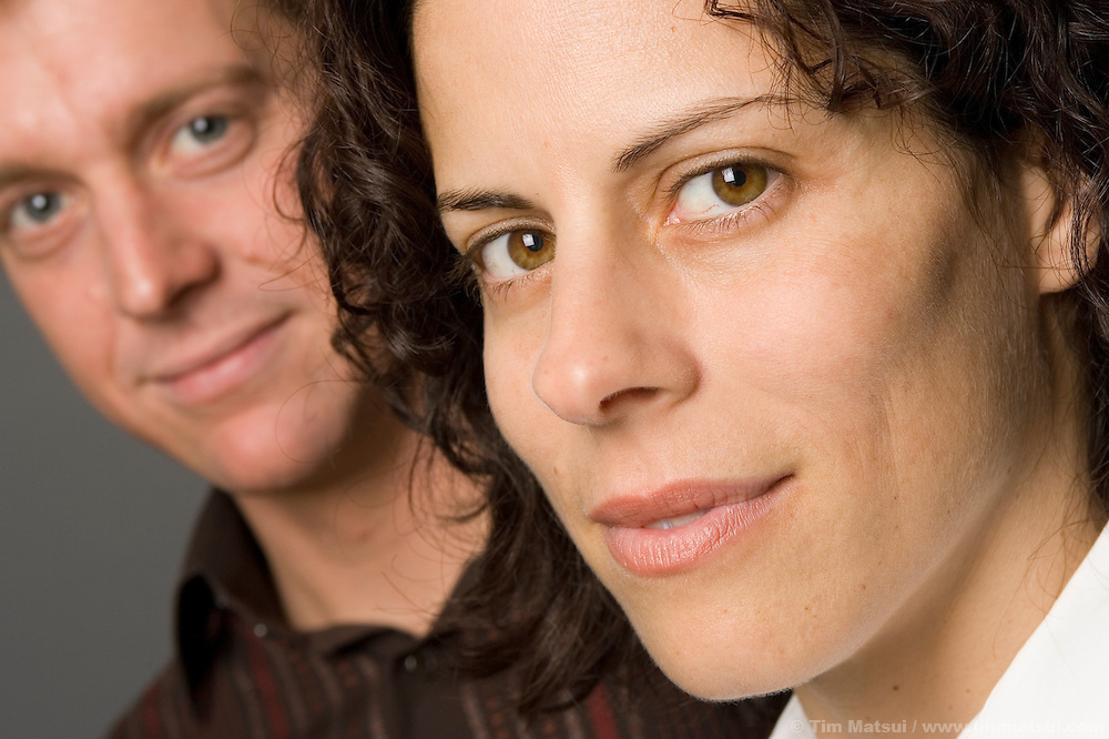 A caucasian couple in the studio.