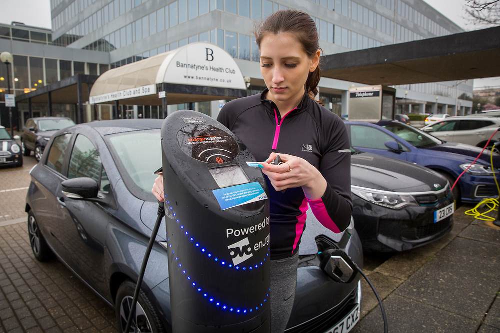 One of the Chargemaster EV charging points as part of the POLAR Network being used outside the Ballantine's Health Club in Milton Keynes, United Kingdom. The POLAR Network has over 6,000 charging points across the United Kingdom.  (photo by Andrew Aitchison / In pictures via Getty Images)