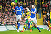 Ipswich Town midfielder Cole Skuse (8) strides forward during the EFL Sky Bet Championship match between Norwich City and Ipswich Town at Carrow Road, Norwich, England on 18 February 2018. Picture by Nigel Cole.