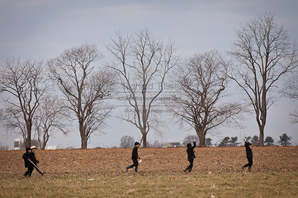 Amish play in a farm field during the Annual Mud Sale to support the Fire Department  in Gordonville, PA.