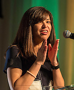 Aleida Rios comments during the State of the Schools luncheon at the Hilton of the Americas, February 15, 2017.