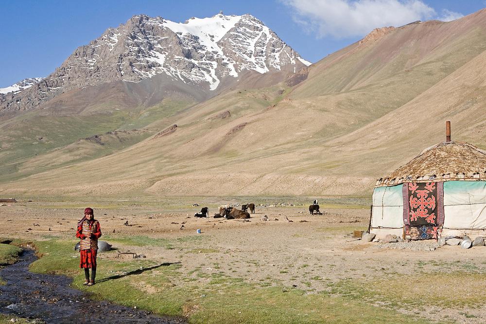 Kyrgyz woman and yurt, Pshart Valley, Tajikistan