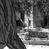 Courtyard to cafe in Mdina Rabat,<br /> Malta, Europe.<br /> Summer 2016.