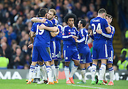 Diego Costa (19) of Chelsea celebrates after scoring the opening goal with Branislav Ivanovic during the FA Cup match at Stamford Bridge, London<br /> Picture by Alan Stanford/Focus Images Ltd +44 7915 056117<br /> 21/02/2016