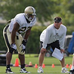 31 July 2009: Saints head coach Sean Payton watches his team during the opening day of New Orleans Saints training camp held at the team's practice facility in Metairie, Louisiana.