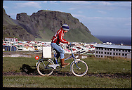 Boy bikes down to shore w/ box of puffin chicks rescued overnight to release them to sea; Heimaey Iceland