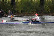 Cambridge, USA, Lightweight women's Single, LW1X, Sarah JOHNSON.  CRI, moves down the course approacing the cambridge BC and Elliott Bridge, during the  2009 Head of the Charles  Sunday  18/10/2009  [Mandatory Credit Peter Spurrier Intersport Images],.