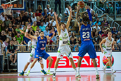 Jaka Klobucar of Slovenia vs Daniel Hackett of Italy during friendly basketball match between National teams of Slovenia and Italy at day 3 of Adecco Cup 2015, on August 23 in Koper, Slovenia. Photo by Grega Valancic / Sportida