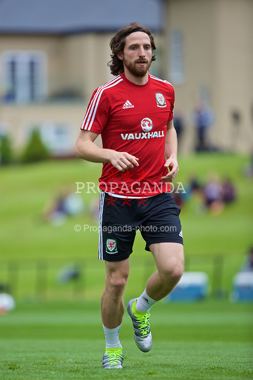 CARDIFF, WALES - Wednesday, June 1, 2016: Wales' Joe Allen during a training session at the Vale Resort Hotel ahead of the International Friendly match against Sweden. (Pic by David Rawcliffe/Propaganda)