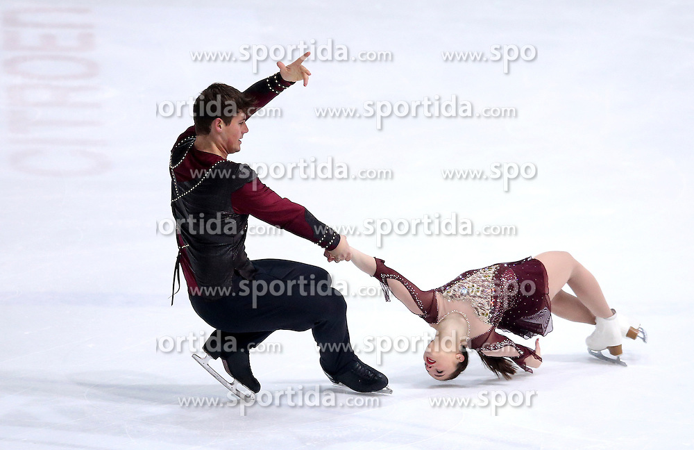 04.12.2015, Dom Sportova, Zagreb, CRO, ISU, Golden Spin of Zagreb, freies Programm, Paare, im Bild Lana Petranovic - Michael Lueck, Croatia. // during the 48th Golden Spin of Zagreb 2015 doubles Free Program of ISU at the Dom Sportova in Zagreb, Croatia on 2015/12/04. EXPA Pictures &copy; 2015, PhotoCredit: EXPA/ Pixsell/ Igor Kralj<br /> <br /> *****ATTENTION - for AUT, SLO, SUI, SWE, ITA, FRA only*****