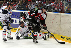 27.02.2015, Lanxess Arena, Köln, GER, DEL, Kölner Haie vs Straubing Tigers, 51. Runde, im Bild Mxime Sauve (Koeln) kommt vor Sandro Schoenberger (Straubing) an den Puck // during Germans DEL Icehockey League 51st round match between Kölner Haie and Straubing Tigers at the Lanxess Arena in Köln, Germany on 2015/02/27. EXPA Pictures © 2015, PhotoCredit: EXPA/ Eibner-Pressefoto/ Weiss<br /> <br /> *****ATTENTION - OUT of GER*****