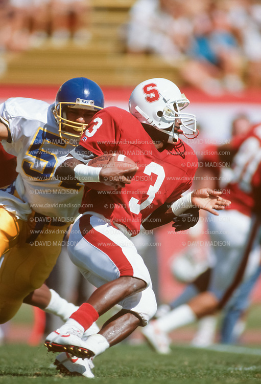 COLLEGE FOOTBALL: Kevin Scott #3,  Stanford vs San Jose State on September 29, 1990 at Stanford Stadium in Palo Alto, California.  Photograph by David Madison.  www.davidmadison.com.