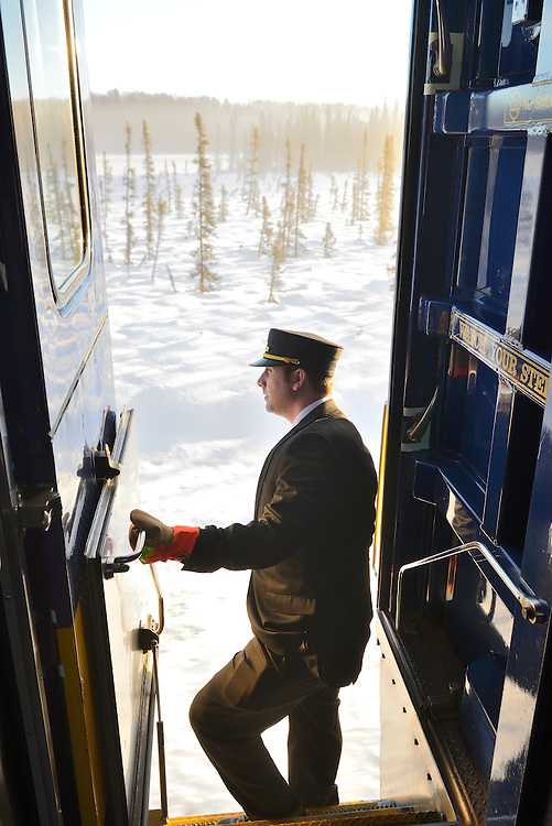 Alaska Railroad trip from Anchorage to Fairbanks in the winter,Alaska,USA