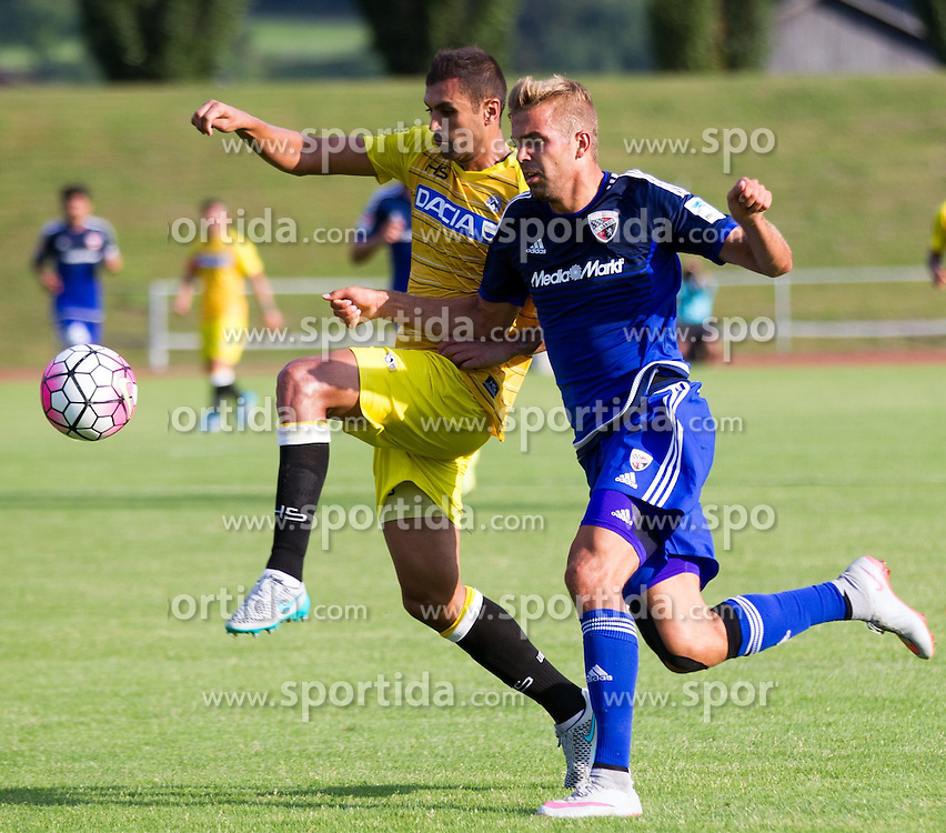 18.07.2015, Dolomitenstadion, Lienz, AUT, Testspiel, Arminia Bielefeld vs Udinese Calcio, im Bild Danilo (Udinese Calcio), Lukas Hinterseer (FC Ingolstadt) // during a International Friendly Football Match between Arminia Bielefeld and Udinese Calcio at the Dolomitenstadion in Lienz, Austria on 2015/07/18. EXPA Pictures © 2015, PhotoCredit: EXPA/ Johann Groder