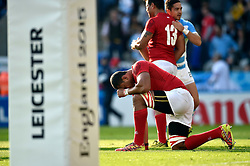 Steve Mafi of Tonga takes a moment after the match - Mandatory byline: Patrick Khachfe/JMP - 07966 386802 - 04/10/2015 - RUGBY UNION - Leicester City Stadium - Leicester, England - Argentina v Tonga - Rugby World Cup 2015 Pool C.