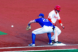NORMAL, IL - May 01: Nick Zouras gets back to the bag on a pitchout throw to Dane Tofteland during a college baseball game between the ISU Redbirds and the Indiana State Sycamores on May 01 2019 at Duffy Bass Field in Normal, IL. (Photo by Alan Look)