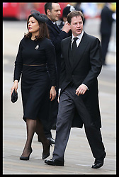 Nick Clegg and wife arriving for  Baroness Thatcher's  funeral at  St.Paul's Cathedral in London  Wednesday 17th  April 2013 Photo by: Stephen Lock / i-Images