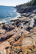 Acadia National Park, Bar Harbor, Mount Desert Island, Maine, USA. Hike granite peaks and enjoy Atlantic coastal scenery. Originally created as Lafayette National Park in 1919, the oldest National Park east of the Mississippi River, it was renamed Acadia in 1929. During the last glacial maximum 21,000 years ago, glaciers measuring up to 9,000 feet thick cut into granite ridges, sculpting the fjord-like Somes Sound.