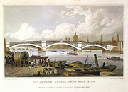 John Rennie's (1761-1821) cast iron bridge over the Thames at Southwark, viewed from the south bank looking towards St Paul's. Built between 1814 and 1819: ironwork cast by Walker's of Rotherham who cast the Sunderland bridge: replaced 1922.  Illustration by Thomas Hosmer Shepherd (active 1817-1842) for 'Metropolitan Improvements', London, 1817. Coloured engraving.