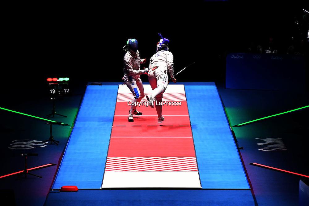 Foto  LaPresse/  Gian Mattia D'Alberto<br /> 13-08-2016  Rio de Janeiro<br /> sport<br /> Giochi Olimpici Rio 2016 - spada donne<br /> Italia- USA<br /> nella foto:  la gara <br /> <br /> Photo LaPresse/ Gian Mattia D'Alberto<br /> 13-08-2016  Rio de Janeiro<br /> Rio 2016 Olympic  Games - Women's Sabre <br /> ITA- USA<br /> In the picture:  the match