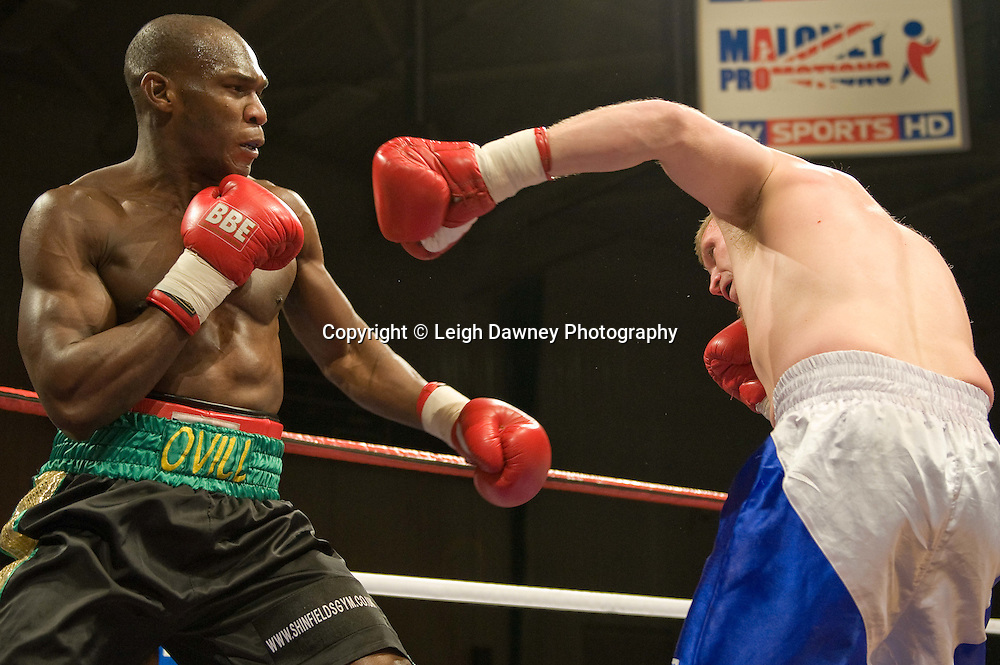 Ovill McKenzie defeats Billy Boyle at the Harvey Hadden Leisure Centre, Nottingham, 5th February 2010 Frank Maloney Promotions.  Photo credit © Leigh Dawney