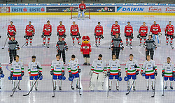 12.04.2018, Tiroler Wasserkraft Arena, Innsbruck, AUT, Eishockey Testspiel, Österreich vs Italien, während dem Eishockey Testspiel Österreich vs Italien am Donnerstag, 12. April 2018 in Innsbruck, im Bild die Mannschaften vor dem Spiel // during the International Icehockey Friendly match between Austria and Italy at the Tiroler Wasserkraft Arena in Innsbruck, Austria on 2018/04/12. EXPA Pictures © 2018, PhotoCredit: EXPA/ Jakob Gruber