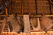 Traditional Baskets in House<br /> Apoteri<br /> Rupununi<br /> GUYANA<br /> South America