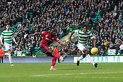 14th October 2017, Celtic Park, Glasgow, Scotland; Scottish Premiership football, Celtic versus Dundee; Dundee's Roarie Deacon misses a great chance to equalise late in the match