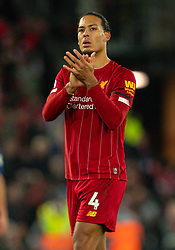 LIVERPOOL, ENGLAND - Saturday, November 30, 2019: Liverpool's two-goal hero Virgil van Dijk applauds the supporters after the FA Premier League match between Liverpool FC and Brighton & Hove Albion FC at Anfield. Liverpool won 2-1 with ten men. (Pic by David Rawcliffe/Propaganda)