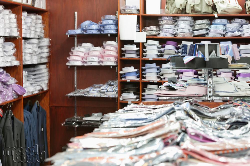 Interior of menswear store