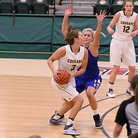 5th year guard Katie Polischuk (3) of the Regina Cougars in action during the Women's Basketball Preseason game on October 14 at Centre for Kinesiology, Health and Sport. Credit: Arthur Ward/Arthur Images
