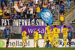 July 3, 2018 - Uppsala, SVERIGE - 180703 Sundsvalls fans och spelare jublar efter att Maic Sema gjort 1-3-mÅ'let under fotbollsmatchen i Allsvenskan mellan Sirius och GIF Sundsvall den 3 juli 2018 i Uppsala  (Credit Image: © Tobias Sterner/Bildbyran via ZUMA Press)