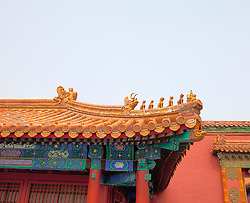 Architectural detail, Forbidden City, Beijing, China.  Built during the Ming Dynasty (1368-1644) it served as the residence and seat of government for the monarchs of both the Ming and Qing dynasties. UNESCO named it a world heritage site in 1987.