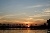 The U Bein bridge is the world's longest teakwood bridge at 2km in length.  It is located in Amarapura, near Mandalay in Myanmar (Burma).