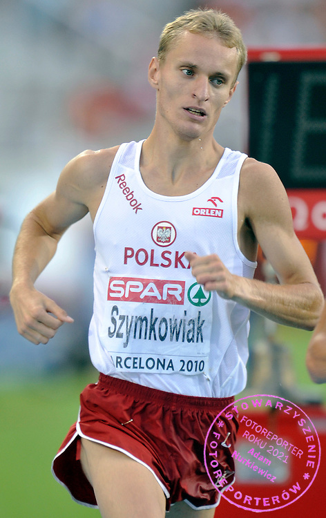 TOMASZ SZYMKOWIAK (POLAND) COMPETES IN THE MEN'S 3000 METERS STEEPLECHASE FINAL DURING THE 2010 EUROPEAN ATHLETICS CHAMPIONSHIPS AT OLYMPIC STADIUM IN BARCELONA, SPAIN...SPAIN , BARCELONA , AUGUST 1, 2010..( PHOTO BY ADAM NURKIEWICZ / MEDIASPORT )..PICTURE ALSO AVAIBLE IN RAW OR TIFF FORMAT ON SPECIAL REQUEST.
