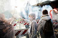 29 January 2016, Milan, Italy - Student demonstrate, with placards and smoke bombs, against political meeting between Matteo Salvini and Marine Le Pen took place at MiCo in Milan