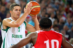 Jaka Lakovic of Slovenia and Dominic Draper of Croatia at friendly match between Slovenia and Croatia for Adecco Cup 2011 as part of exhibition games before European Championship Lithuania on August 8, 2011, in SRC Stozice, Ljubljana, Slovenia. (Photo by Urban Urbanc / Sportida)